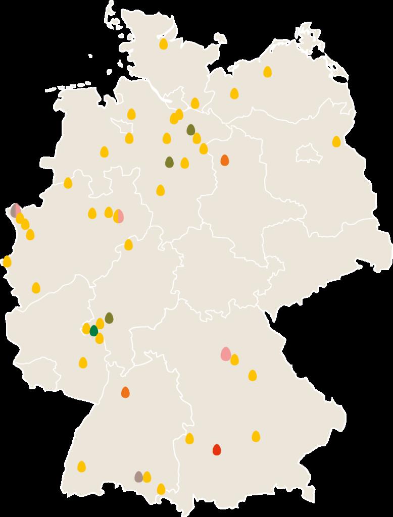 Übersicht der bislang an der ÖTZ beteiligten Betriebe in Deutschland